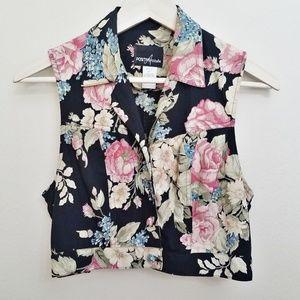 80s vintage crop black rose floral vest retro